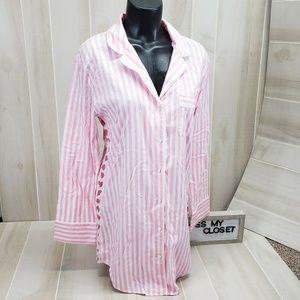Victoria's Secret Flannal Nightie Pink Stripes S